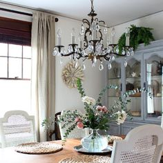 A dark room gets a bright makeover and a a touch of France with refinished consignment and yard sale finds!  Step by step tutorials.