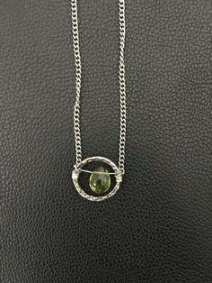 Handmade dainty boho style silver necklace green by PopandLocket