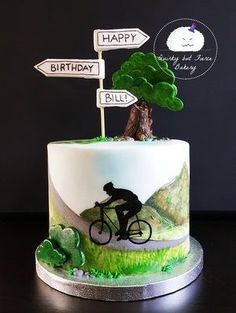 Cake for a cycling enthusiast by Quirky but Fierce Bakery . Cake for a cycling enthusiast by Quirky but Fierce Bakery 60th Birthday Cake For Men, Red Velvet Birthday Cake, White Birthday Cakes, 40th Cake, Dad Cake, Cake Kids, Bicycle Cake, Bike Cakes, Mountain Bike Cake