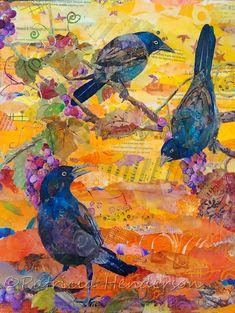 Paper Collage Art, Collage Art Mixed Media, Paper Art, Mixed Media Painting, Animal Quilts, Art Plastique, Fabric Art, Bird Art, Medium Art