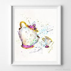Cinderella Carriage Wall Art Disney Watercolor Poster Nursery Decor UNFRAMED