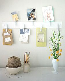 Notes and photos on a spray-painted rack