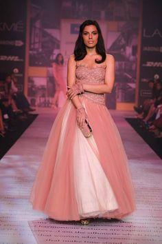 Shantanu & Nikhil Lakme Fashion Week Summer 2014 pink and white strapless tulle dress #lakmefashionweek