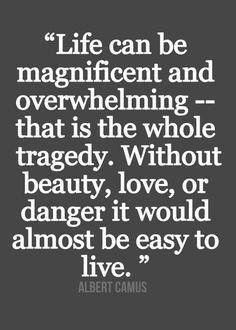 """""""La vida puede ser magnífica y perturbadora, en ello reside toda su tragedia. Sin la belleza, el amor o el peligro, casi sería fácil vivir."""" Albert Camus"""