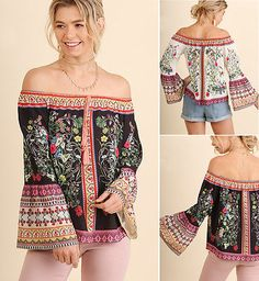 4461ae8b52 UMGEE Floral Print Off the Shoulder Gypsy Peasant Top Long Sleeve Loose  Blouse