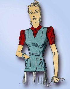 1940s Vintage Du Barry Sewing Pattern 5172 Uncut WWII Misses Blouse Jerkin Sz 12