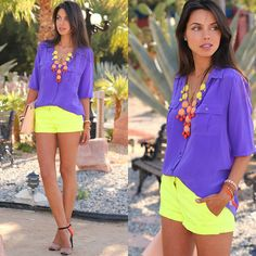 obsessed with these neon shorts. this is such a fun & sexy way to play with color for the summer #beachchic