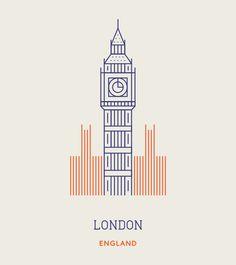 World Landmark as Line Icons
