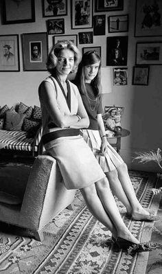 Lauren Bacall and her daughter Leslie Bogart , NYC 1966.