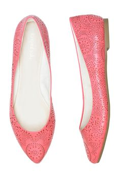 Coral Almond Toe Perforated Ballerina from Long Tall Sally
