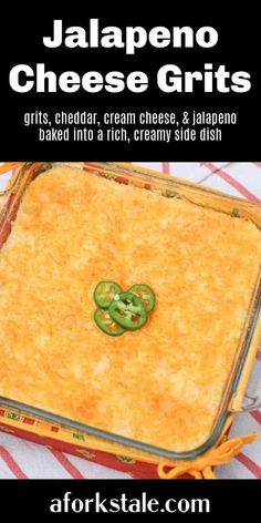 This jalapeno cheese grits recipe combines grits, cheddar, cream cheese, and jalapeno that is baked into a casserole for a rich, creamy side dish. Delicious! Gluten Free Sides Dishes, Side Dishes Easy, Vegetable Side Dishes, Side Dish Recipes, Brunch Recipes, Easy Dinner Recipes, Breakfast Recipes, Fun Recipes, Amazing Recipes