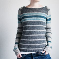 Donna is a fun little pullover with different stripes on the body and the sleeves and a rounded bottom hem. Worked top-down, it is knit flat in one piece to the underarm, then the piece is joined in the round for the body and the sleeves. Only one little seam result! Pattern available in both French and English.