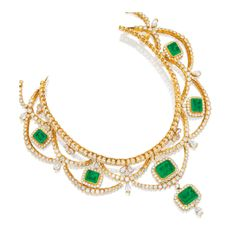 Emerald and Diamond Necklace, Fred Leighton. The choker necklace of garland design, set throughout with brilliant-cut diamonds, highlighted by six step-cut emeralds, decorated by pear-shaped diamonds, the emeralds and diamonds together weighing ~ 64.15 and 68.80 carats respectively, mounted in 18 karat yellow gold.
