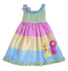 Rare Editions Baby-Girls Infant Flip-Flops Applique Colorblock Seersucker Dress, Multi $19.95 (43% OFF)