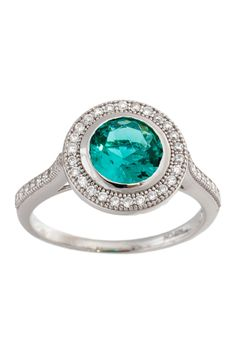 Sterling Silver Rhodium CZ Mint Green Circle Center Ring