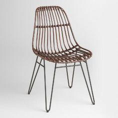 One of my favorite discoveries at WorldMarket.com: Rattan Flynn Hairpin Dining Chairs with Rustic Legs Set of 2