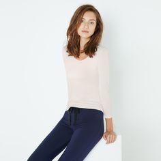 T-shirt manches longues Heattech blanc rosé et pantalon Heattech bleu marine