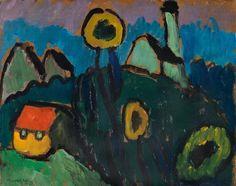 Gabriele Munter Landschaft mit gelben BäumeLandschaft mit Sonnenblumen by Gabriele Münter on artnet
