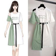 Fashion Drawing Dresses, Fashion Illustration Dresses, Korean Fashion Dress, Kpop Fashion Outfits, Girls Fashion Clothes, Indian Fashion Dresses, Mode Outfits, Diy Kpop Clothes, Drawings Of Dresses