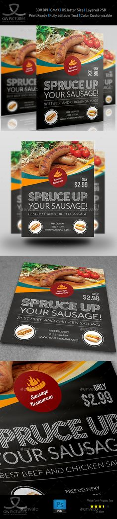 Sausage Restaurant Flyer Template PSD. Download here: http://graphicriver.net/item/sausage-restaurant-flyer-template/15533430?s_rank=27&ref=yinkira