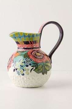 Colorful pitcher, hate the handle it's much to high and will break, #form