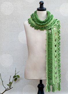 Be a tree spirit for the day when you wrap yourself in this enchanting two-tone scarf! Made to match the Dryad Vest, this lovely accessory