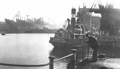 A portion of a very fine image of S.S. Edenside, the Rose Line coaster, built at Newcastle, at the Hendon staiths. At left is the Bartram yard, with 'Alenquer' & 'Ambrizete' on the stocks prior to being launched stern-first into theharbour of the South Outlet. In a 1948 image, that, it is believed, was originally published by Sunderland Echo. Whom we sincerely thank.