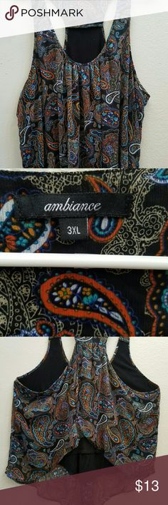 Ambiance 3XL Paisley Printed Top Size 3XL with plenty of flow! Worn once and it's in great condition with no holes or tears. Check out my other listings! #casual #stylish Ambiance Apparel Tops Tank Tops