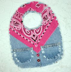Vintage Levis Baby Buckaroo Bib with Hot Pink by GraceLaneCottage
