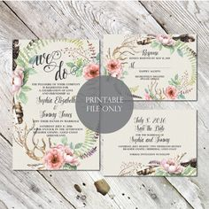 BOHO Digital Invite, Rustic Wedding Suite and Save the Date Wedding Invitation - Wreath, Deer Digital Invite, Invitation Template Sophia