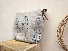 Sale Cosmetics pouch hand printed linen Plants by TwoLittleAnts