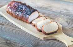 Buy Pork loin wrapped in bacon by on PhotoDune. Pork loin wrapped in bacon on the wooden board Pork Loin, Bacon, Favorite Recipes, Food, Photographs, Pork Fillet, Essen, Photos, Meals