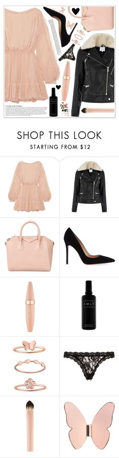 """""""style"""" by lena-volodivchyk ❤ liked on Polyvore featuring LoveShackFancy, Warehouse, Givenchy, Gianvito Rossi, Maybelline, Belk Silverworks, Hanky Panky, Anja, Ghidini 1961 and PBteen"""
