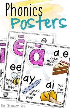 Phonics Posters - The Classroom Key 2nd Grade Ela, First Grade Phonics, Teaching First Grade, First Grade Reading, First Grade Classroom, Third Grade, Fourth Grade, First Grade Homework, First Grade Freebies