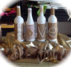 Wrapped bottles...Choose your style, lots to choose from! www.etsy.com/shop/queensbanners