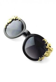 Cat Eye Sunglasses with Golden Vine Detail