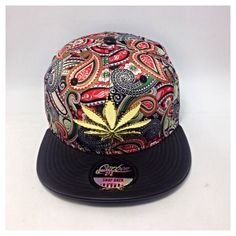 WEED HAT/ Snapback Cap/ Kush, Ganja Gold Metal Leaf- Base Ball Caps NEW
