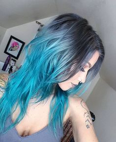 Long curly hairstyle with ombre blue dye by Brown Blonde Ombre Hair Color Best Makeup Tutorials for Blue Great Blue Hairstyles Teal Hair, Hair Color Blue, Pastel Hair, Cool Hair Color, Bright Hair, Silver Blue Hair, White Hair, Gold Hair, Grey Hair With Blue