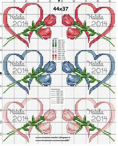 Cross-stitch Ribbon Heart with Flowers Set... Fguj