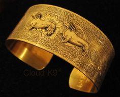 DACHSHUND CUFF BRACELET Jewelry for Doxie Lovers.. Signed Cloud K9 Jewelry.. Vintage Style Dachshund Bracelet.