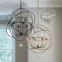 Orb Chandelier | Ballard Designs. The large one for over the table, and the smaller size for the entrance. In aged silver