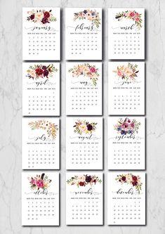 Printable Monthly Calendar Printable calendar Watercolor Flowers Calendar, Digital C Monthly Calendar 2018, Calendar 2019 Printable, Art Calendar, Calendar Pages, Calendar Design, 2021 Calendar, Embroidery Alphabet, Cute Planner, Bullet Journal Inspiration