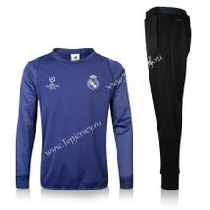 2016-17 Real Madrid Champions League Inside-Cotton Blue Thailand Soccer Tracksuit