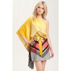 Nicole Miller Crepe de Chine One Shoulder Dress