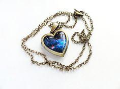 Double Sided - Handmade Resin Midnight Blue Cosmic Galaxy Antique Bronze Heart-shape Locket Necklace