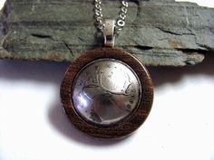 Coin Necklace Eco Friendly Wood Canada Caribou 25 by Hendywood, $28.00