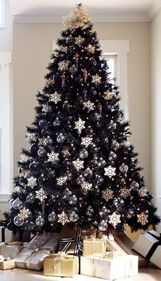Style, substance, and sophistication — the Tuxedo Black Christmas Tree has it all. Some day black Christmas Tree . you will be mine, TOO! Black Christmas Tree Decorations, Christmas Tree Sale, Elegant Christmas Decor, Creative Christmas Trees, Black Christmas Trees, Traditional Christmas Tree, Snowflake Decorations, Noel Christmas, Beautiful Christmas