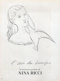 Nina Ricci Perfumes 1948 L'Air du Temps Vintage advert Perfumes | Hprints.com