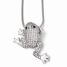 Sterling Silver & CZ Frog Necklace