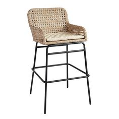 Prepare for guests to stay awhile. With its low contoured arms and generous seat, our Bailey Woven Stool is all about cool comfort. Hand woven in an airy box weave of all-weather wicker with sturdy iron frame.Bailey Woven Stool features:Washed gray resin wickerSuitable for outdoor useMicro-tufted khaki cushionPowder-coated frame for durabilityFully assembled